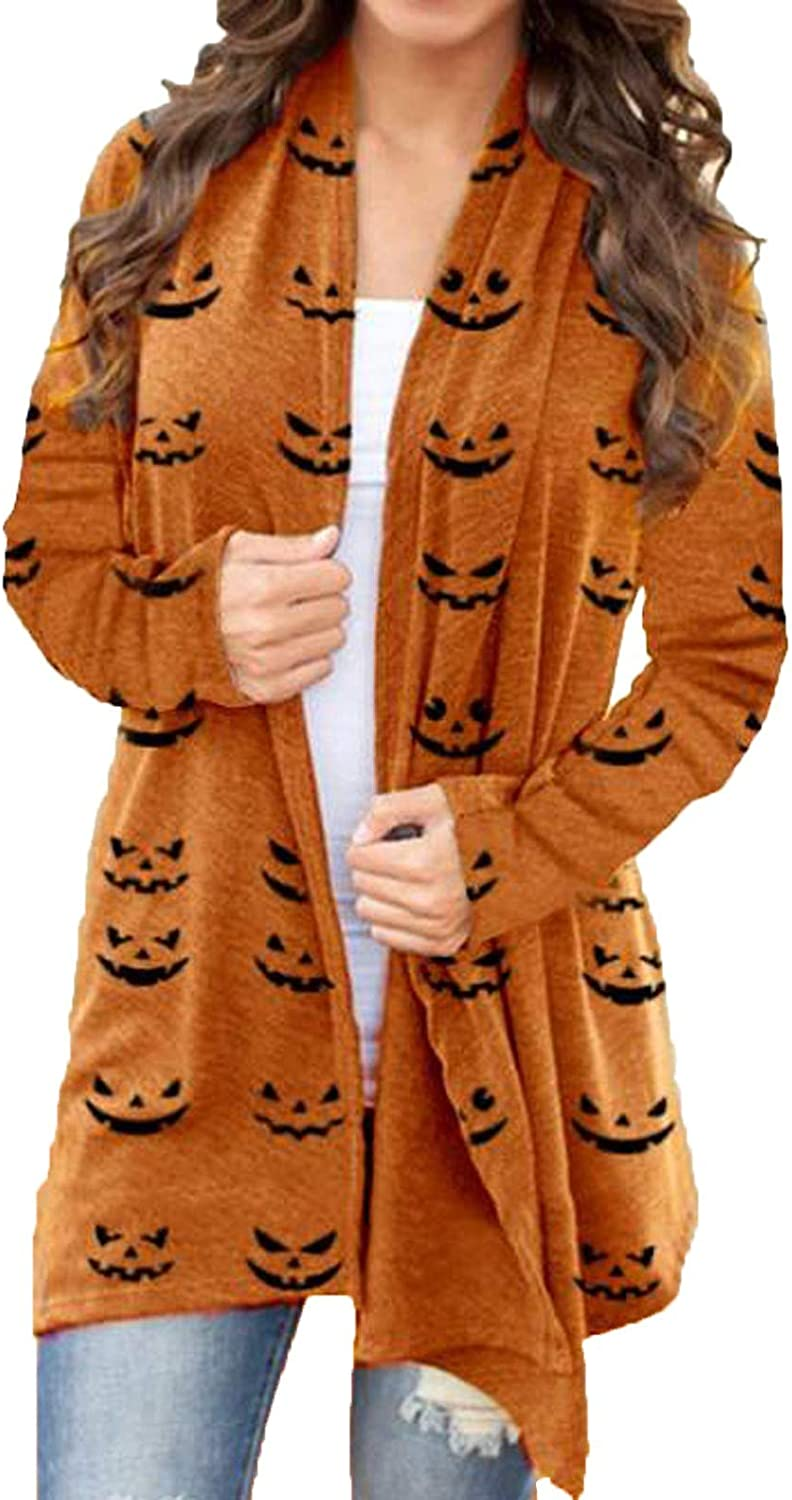 Jaqqra Womens Halloween Long Sleeve Open Front Cardigan Funny Cute Spider Web Ghost Printing Tops Lightweight Coat