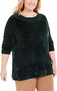 Karen Scott Plus Size Boat-Neck Chenille Sweater Forest Green 0X