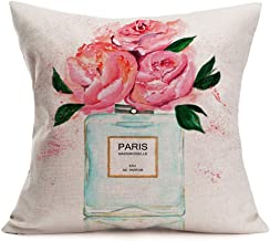 """ShareJ Throw Pillow Cover Perfume Floral Hand Drawn French Chanel Watercolor Trend Aroma Design Square 18""""×18"""" Pillowcase for Home Decor Cotton Linen Cushion Case 18'' x 18''"""