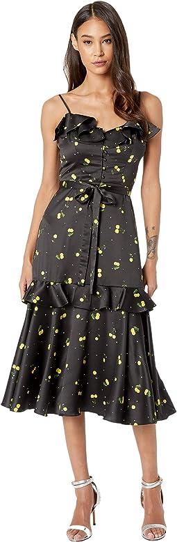 Cherry Print on Stretch Satin Petal Dress