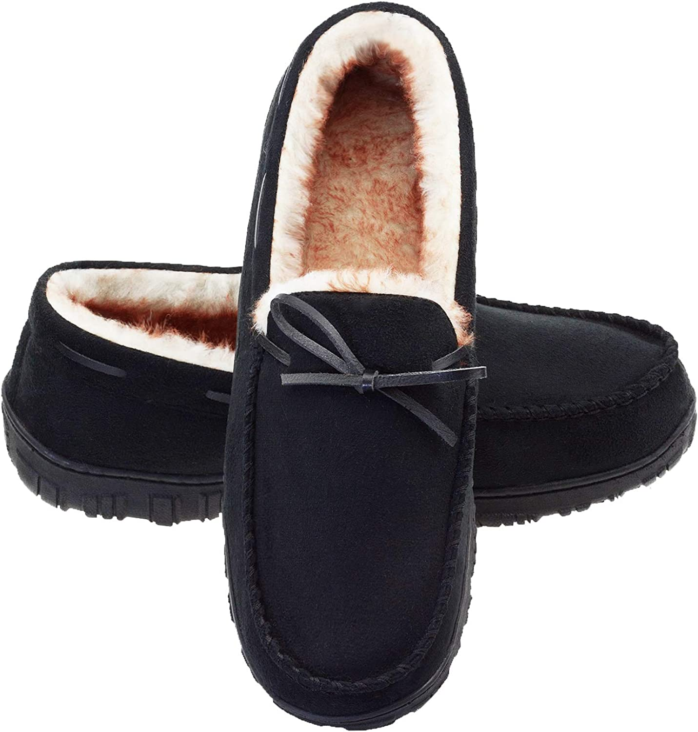 Fees free LA Sale price PLAGE Mens Slippers Moccasin for Plush Outdoor Indoor Men Lin