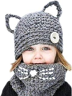 yanekopの女の子の冬動物帽子とスカーフセット暖かいフード付きスカーフBestギフト