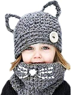 Winter Kids Warm Animal Hats Knitted Hood Scarf Beanies
