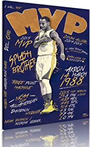 Stephen Curry Canvas Wall Painting, Golden State Splash Brothers Steph Skyfucker Wall Poster Art Print Artwork, Warriors Three-Point Shooter Curry Poster for Fans Gift Living Room Decor (12