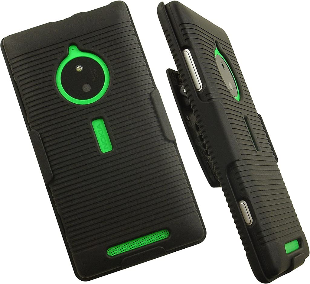 NAKEDCELLPHONE'S BLACK RUBBERIZED HARD CASE COVER + BELT CLIP HOLSTER STAND FOR NOKIA LUMIA 830 PHONE (AT&T, UNLOCKED)