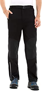 Men's Fleece-Lined Soft Shell Winter Pants - Ski Snow Insulated, Water and Wind-Resistant