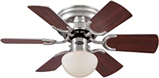 Westinghouse Lighting 7213300 Petite 30-Inch Brushed Nickel Indoor Ceiling Fan, Light Kit with Opal Mushroom Glass, Includes Bulb
