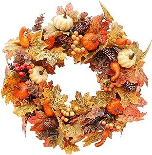balikha カエデ葉花輪 20 インチ秋ドア花輪カボチャ、松ぼっくり、ベリー、収穫花輪秋と感謝の装飾 - タイプa