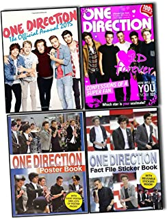 One Direction 4 Books Collection Pack Set (One Direction Ultimate Fan''s Book 100% Unofficial Includes 1d Wall Poster and 1d Wall Calendar, ONE Direction Poster Book, One Direction Fact File Sticker Book, One Direction: The Official Annual 2015)