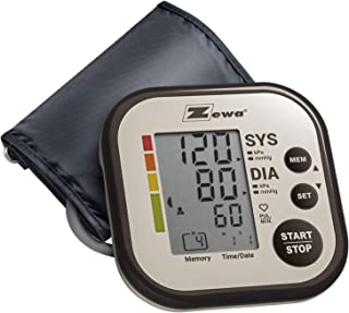 "Zewa Upper Arm Blood Pressure Monitor with Two User Mode (120 Reading Memory) and Wide Range Cuff That fits Medium to Large arms 8.7"" - 16.5"""