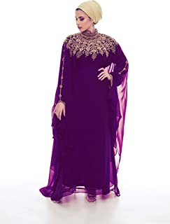 Athena Kaftan for Women Long Sleeve Chiffon Maxi Dress Formal Gown Evening Dress (Purple, 60)