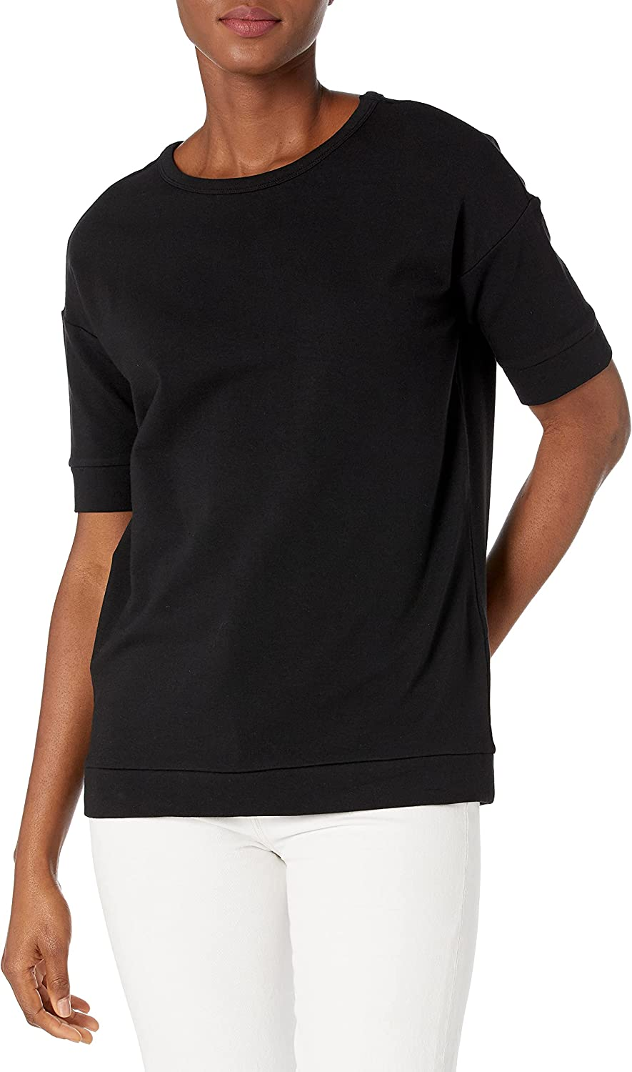 Daily Ritual Women's Terry Cotton and Modal Oversized-Fit Slouchy Short-Sleeve Sweatshirt