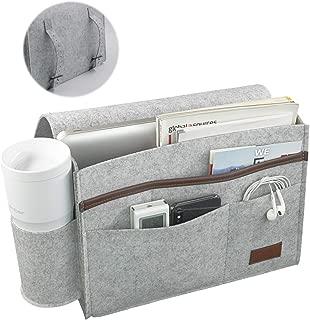 iwoxs Bedside Caddy, Bedside Storage Organizer, Sofa Table Cabinet Bed Felt Holder Bag for Magazine Book Remote Tablet Phone (Grey)
