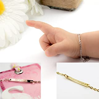 Best Baby Gift Customize Baby id Name Bar Bracelet 16k Gold Plated Dainty your baby name Hand Stamp or Machine New Born to Children and First Birthday Custom New year Best Gift