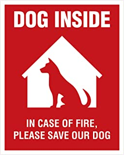 Dog Inside Sticker - 4 Pack - 4x5 inches - Dog Alert Safety Window Sign