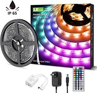 LE LED Strip Lights, 16.4ft Waterproof RGB 5050 LED Strips with Remote Controller, Color Changing Tape Light with 12V Power Supply for Room, Bedroom, TV, Kitchen, Desk