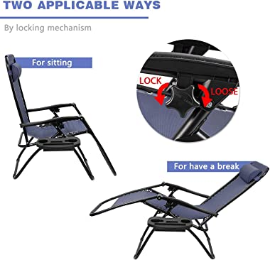 Homall Zero Gravity Chair Patio Folding Lawn Lounge Chairs Outdoor Lounge Gravity Chair Camp Reclining Lounge Chair with Cup