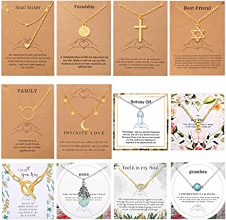 12pcs Friendship Necklace Set for Girls Turquoise Choker Necklace Pendant Jewelry Women Birthday Gifts Card Best Friend