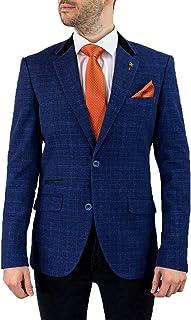 Cavani Men's Kaiser Slim Fit Tweed Jacket Blazer Blue