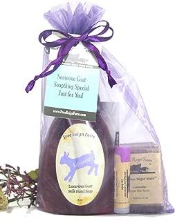 Lavender Bath Set. A Spa Kit of Lavender Goat Milk Foaming Soap, Lavender Goat Milk Half Bar Soap and Lavender Beeswax Lip Balm