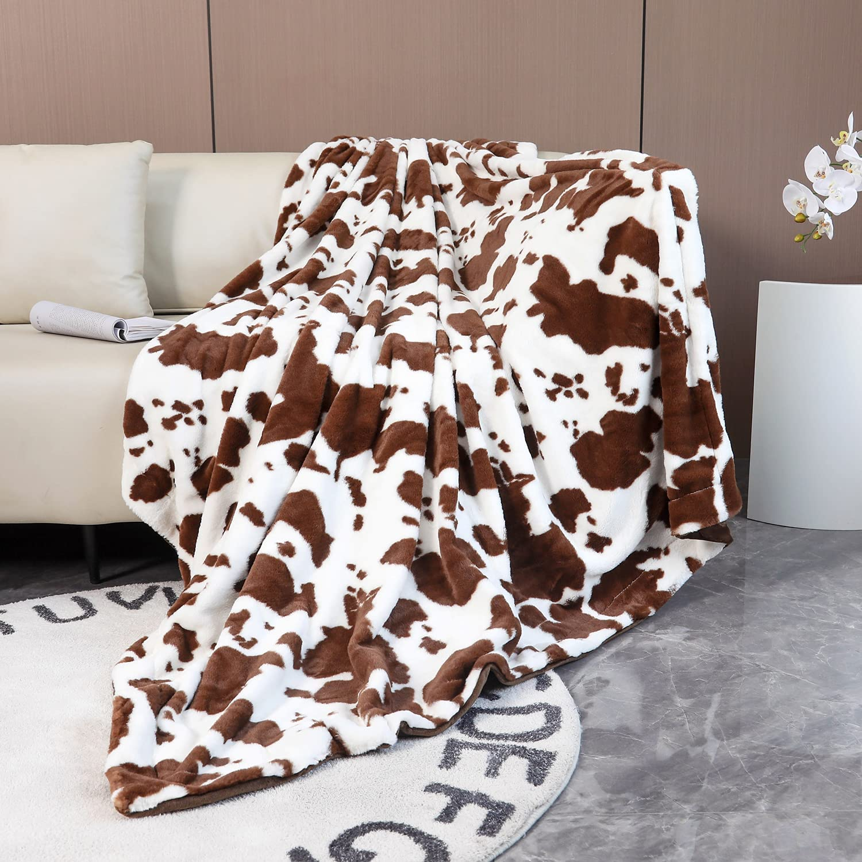 Import SUCSES Cow Print Blanket Faux Fur Super Bed wholesale Soft Fleece