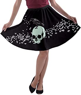 Womens Skater Skirt Skull Space Feather Rock & Roll Death Patchwork Party A-Line Skirt, XS-3XL