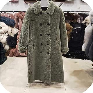 Surprise S Women 30% Wool Coat A Shape Button Pocket Shearing Girl Warm Jacket Overcoat