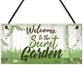 Meijiafei Welcome to The Secret Garden Hanging Plaque Garden Shed Summerhouse Sign Gifts for Her 10