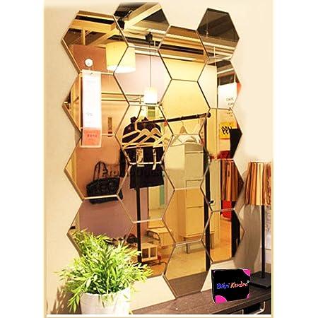 Bikri Kendra Hexagon 20 Golden Acrylic Mirror Wall Stickers