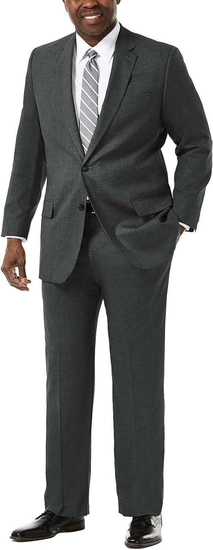 Haggar Men's Big and Tall J.m Premium Stretch Classic Fit 2-Button Coat, Medium Grey, 52L with Plain Front Pant, Medium Grey, 60Wx32L