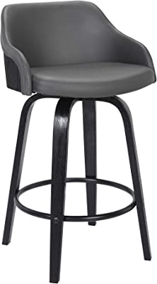 Amazon Com Alec Faux Leather Swivel Barstool 26 Counter Height Black And Gray Furniture Decor