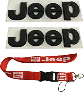 New 1pcs Red Jeep Keychain Lanyard Badge Holder + 2pcs Black Jeep Logo Chromed Emblem Badge Decal Sticker Fit For Jeep