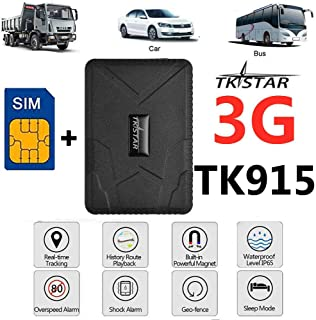 (Free SIM) GPS Tracker for Vehicles, TKSTAR 3G GPS Tracker Real Time Tracking Device for Cars Anti Theft Alarm Strong Magnet GPS Locator for Motorcycle Trucks Support Android and iOS,TK915