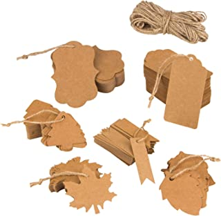 300 PCS Brown Kraft Gift Tags with Twine,VENCINK Blank Paper Jewelry Cloth Hang Personalized Craft PriceTags for Arts and Crafts Wedding Christmas Thanksgiving Birthday Party Decoration 6 Shape
