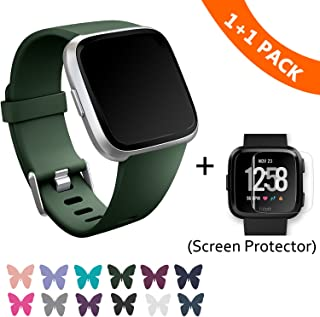 Fitbit Versa Bands, Classic Edition Replacement Bracelet Sport Wristband with Buckle Accessories Strap for Fitbit Versa Fitness Smart Watch, 13 Colors, Large, Small