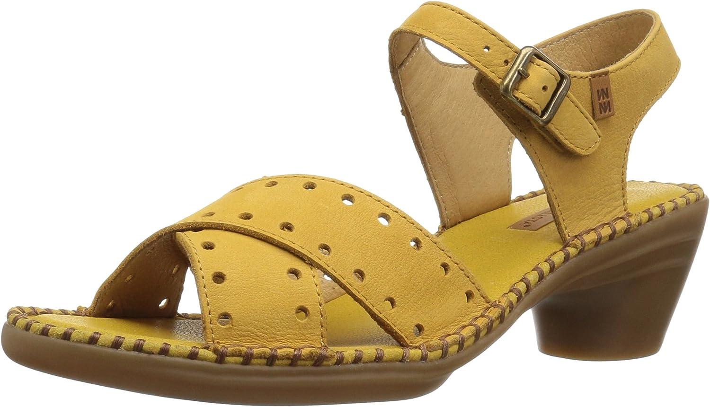 El Naturalista Womens N5325 Pleasant Curry Aqua Heeled Sandal