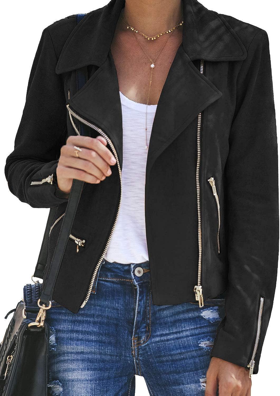 Blibea Women's Casual Short Jacket Suede Moto Biker Coats with Pockets Outwear Medium Light Black