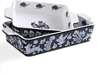 Bakeware Set,SIDUCAL 2 Piece Ceramic Baking Dish Set,Rectangular Home Cookware Pans with Double Handle,Casserole Dish for ...