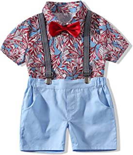 City Mouse Gentlemen Outfits Baby Hawaiian Aloha Shirt and Suspender Pant for Toddler Clothes Set