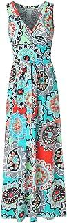 Womens Bohemian Printed Wrap Bodice Sleeveless Crossover Maxi Dress