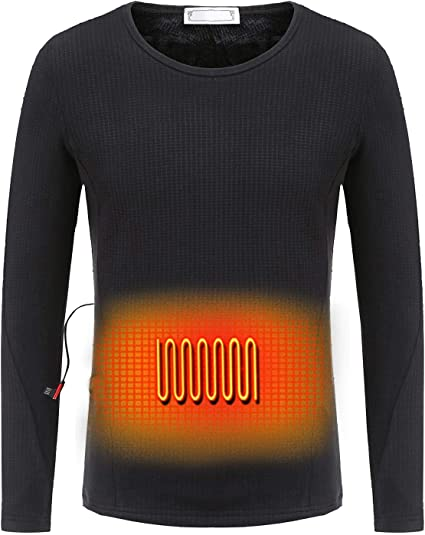 Battery Not Included Washable USB Electric Heated Thermal Long Sleeve T Shirts PROKTH Electric Heating Clothes USB Electric Heating Underwear for Men and Women Insulated Heating Underwear