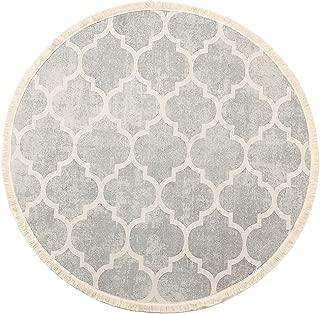 LEEVAN Round Area Rug,Hand Woven Cream Chic Moroccan Print Tassels Throw Rugs Door Mat,Indoor Floor Rugs Compatible Bedroom,Living Room,Children Playroom,Grey, 4' Diameter