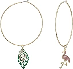 Gold Tone Hoop Earrings with Flamingo and Leaf Charm