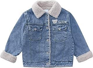 amropi Girl's Denim Jacket Fleece Lined Warm Jean Coat Winter Outwear for 3-14 Years