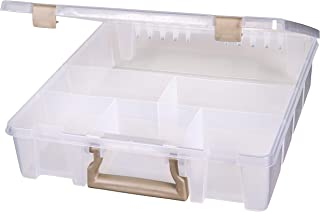 ArtBin Super Satchel-6 Fixed Divided Compartments, 9001AB, Clear with Gold Accents, 1 Pack