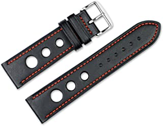 22mm Replacement Leather Watch Band - Leather Grand Prix - Black w/red Stitching Watch Strap
