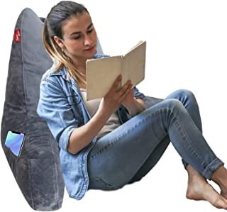Removable Plush Cover /& Detachable Neck Roll Reading /& Bed Rest Pillow with Support Arms//Pockets//Cup Holders//Low Rebound Memory Foam Backrest Cushion for Adults Watching TV//Sitting up in Bed