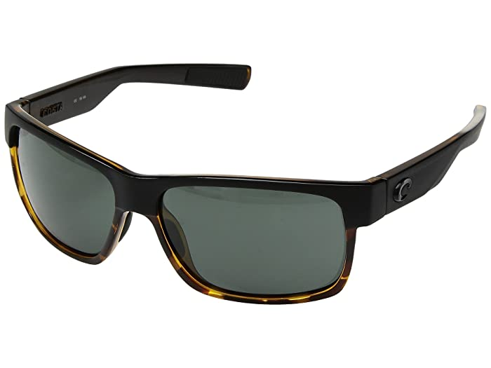 Costa  Half Moon (Matte Black/Shiny Tortoise Frame/Gray 580G) Athletic Performance Sport Sunglasses