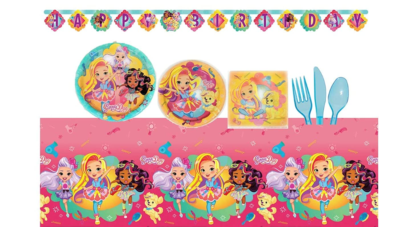 Sunny Day Deluxe Birthday Party Supplies Bundle Set for 16 Guests - Plates, Tablecover, Banner, Cutlery, Napkin ztbgncaxzem644