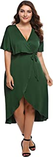 Involand Womens Plus Size Sexy Short Sleeve High Low Maxi Evening Party Cocktail Dress